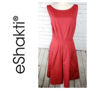 Eshakti Dress Sleeveless Red Wide Band Waist XL